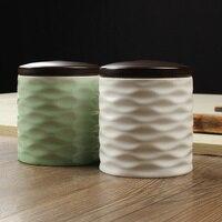 الصقيل السيراميك الشاي العلبة سيلادون مملة ختم جرة تخزين الشاي