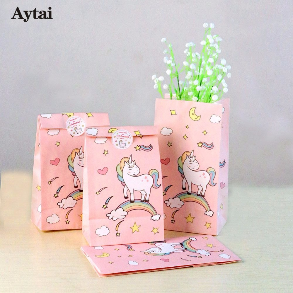 OurWarm 60pcs Unicorn Party Paper Bags Baby Shower Birthday Theme Gift for Kids Candy Boxes Favor