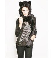2016 Regalo Chirsmas Nuevos Rusos Warm Faux Fur Sombrero Animal Lindo lobo Tiger Capucha Bufanda Guante Sombrero Conjunto de Dibujos Animados de Invierno Ladies Cap regalo