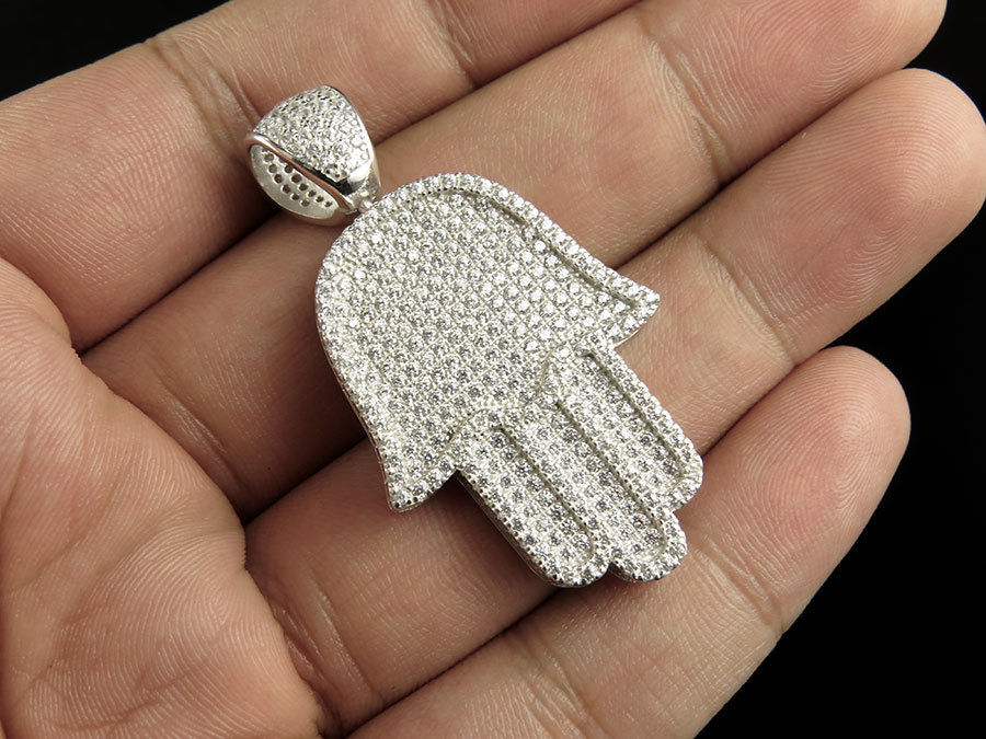 free chain 24 high quality real micro pave AAA cz hip hop bling hamsa hand mens jewelry chain gold silver necklace