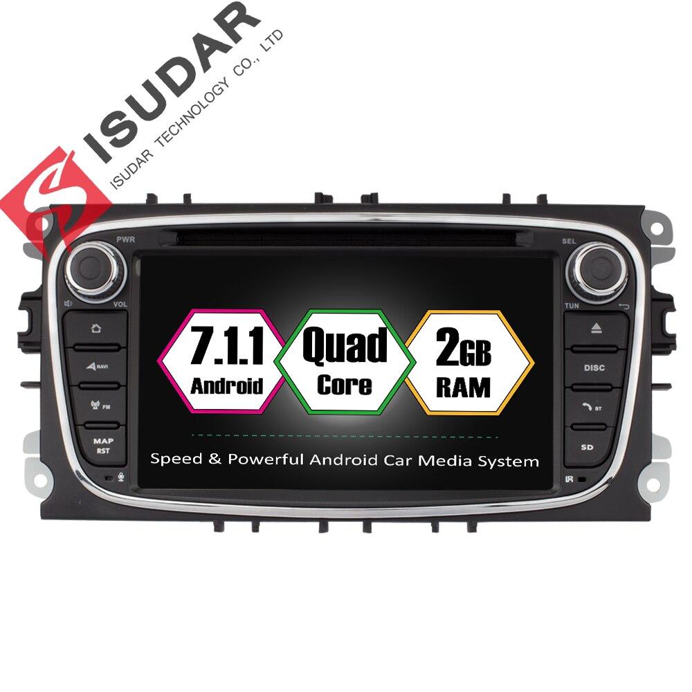 Isudar Reprodutor multimídia Carro Android 7.1 GPS do carro do Ruído 2 dvd player para FORD/Focus/S-MAX/Mondeo/C-MAX/Galaxy wifi DSP rádio do carro