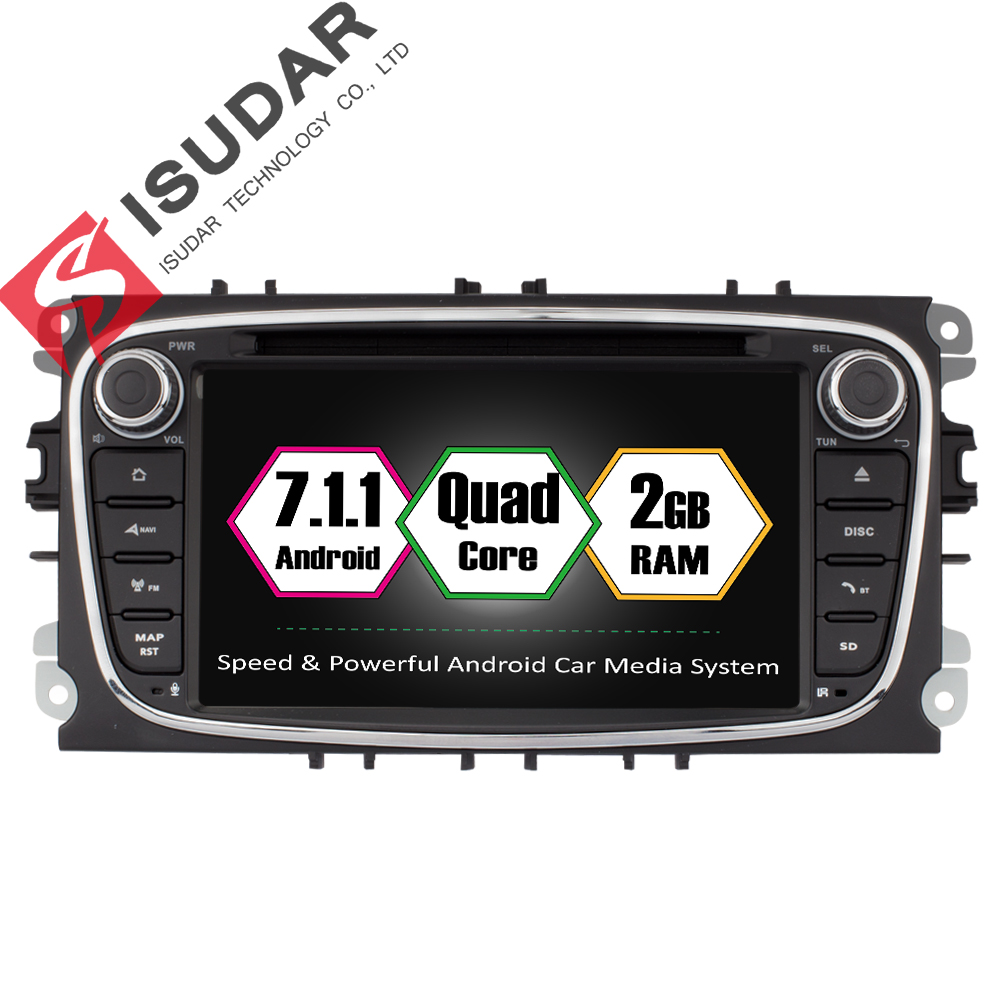 Isudar Voiture Lecteur Multimédia Android 7.1 GPS 2 Din voiture lecteur dvd pour FORD/Focus/S-MAX/Mondeo /C-MAX/Galaxy wifi voiture radio DSP