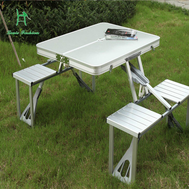 Outdoor aluminum alloy table folding table and chair set portable ...