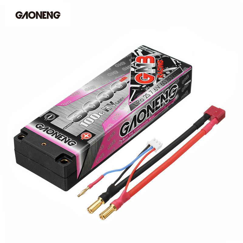 Gaoneng 7.6V 8000mAh 100C 2S HV 4.35V Rechargeable Lipo Battery 5.0mm Banana Plug T Plug for 1:10 RC Car Boat Modes Spare Parts