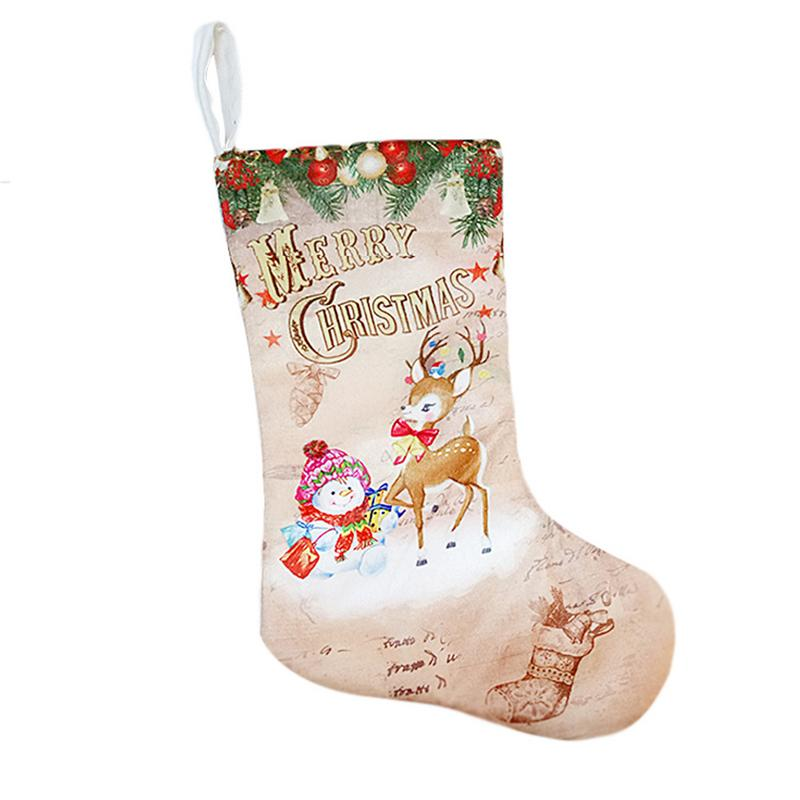 Image 4 - Christmas Stockings Pendant Cloth Ornaments Small Boots Pendant Christmas Pattern Print Party Home Decoration Supplies Gift Bag-in Stockings & Gift Holders from Home & Garden