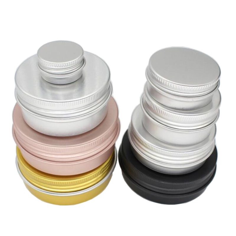 20pcs 5g 15g 20g 30g 50g 60g Aluminum Cream Jar Pot Nail Art Makeup Lip Gloss Empty Cosmetic Metal Tin Containers Black