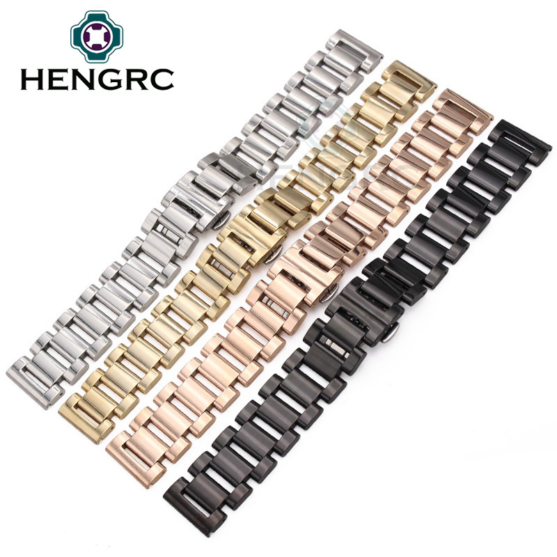 Solid Stainless Steel Watch Strap Band 18 20 22 24mm Silver Rose Gold Black Men Women Metal Bracelet Link Watchbands Accessories watchbands for garmin fenix3 smart watch black silver gold bracelet stainless steel metal watch band strap 26mm