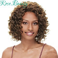 Cheap Afro Curly Synthetic Wig Afro African American Short Wigs cosplay Short Hair Wigs For Black Women harajuku Afro Curl Wig