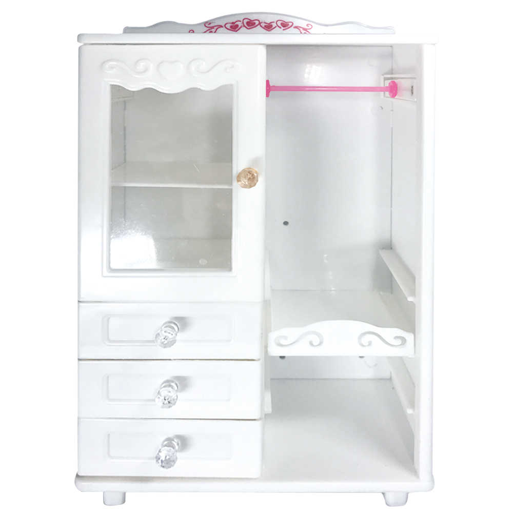 NK One Set Doll Accessories White Luxury Wardrobe Closet For Barbie Doll Princess Dream room Furniture Miniature Best Gift