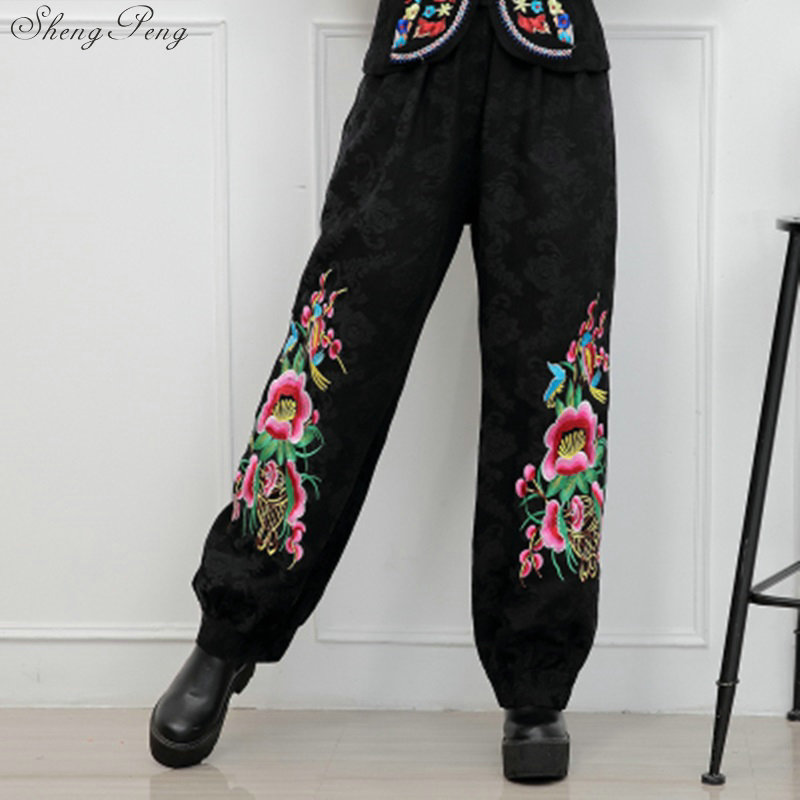 Women autumn spring ethnic black floral embroidery harem pants capris pant trousers Traditional Chinese clothing V1356