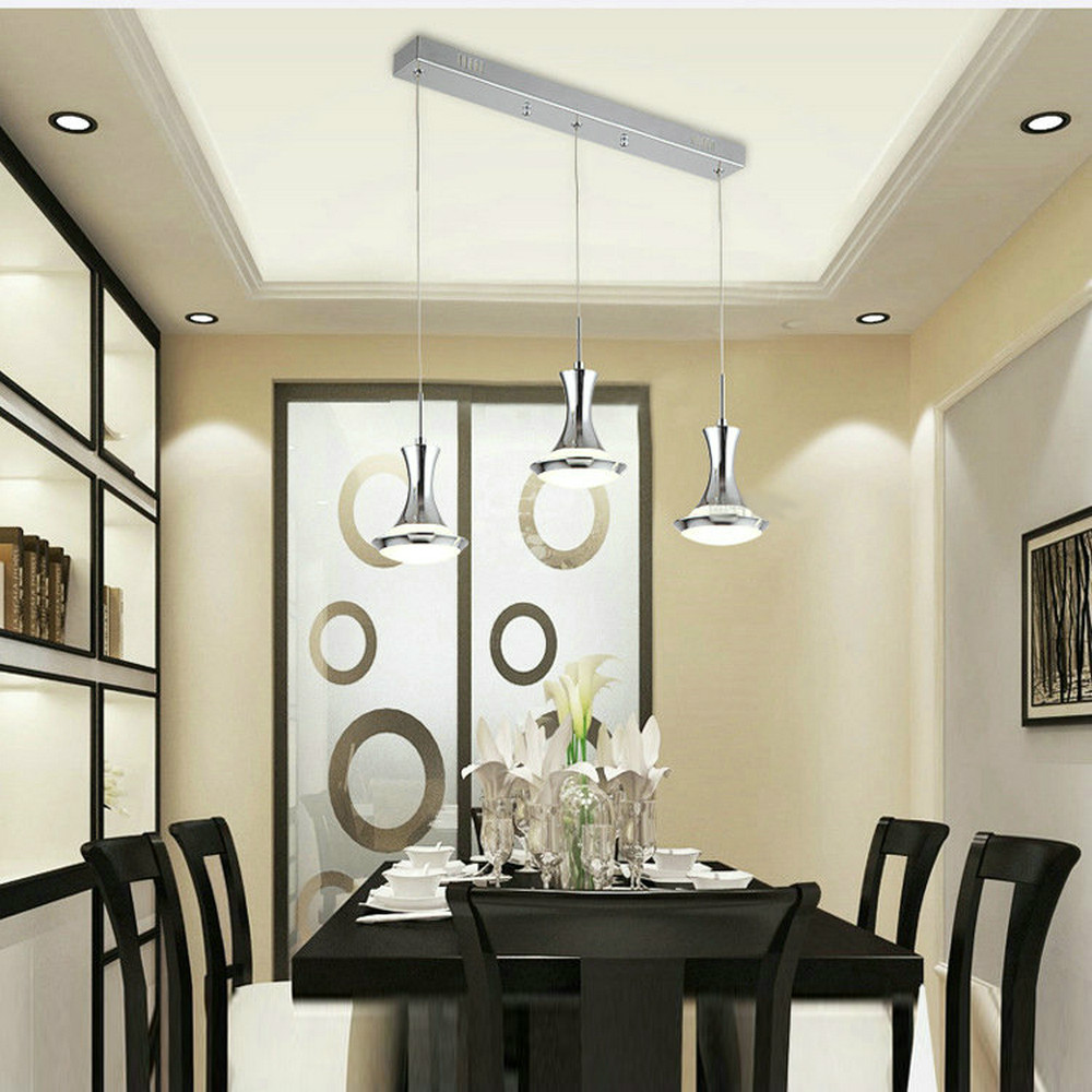 MAMEI Free Shipping Chrome Finish 3 Lights Contemporary LED Pendant Lamps for Dinning Room Included Led