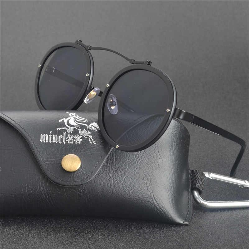 f90ec9f835 MINCL/2017 gótico gafas de sol hombres mujeres Metal Wrap gafas ronda  sombras marca diseñador