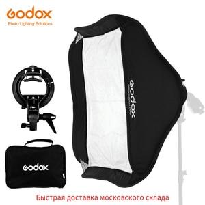 Image 1 - Godox Регулируемый софтбокс для вспышки Speedlight 80 см * 80 см 31x31 дюйм + кронштейн S типа Bowens комплект для студийной съемки Speedlite