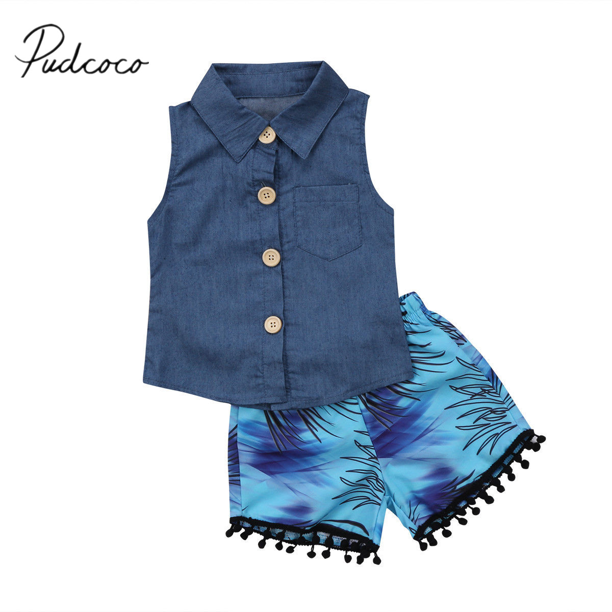 2018 Brand New Fashion Toddler Infant Child Kids Baby Girls Sleeveless Denim Tops Tassel Shorts 2pcs Outfits Summer Set 1-6T 1 7y toddler kids clothes 2017 fashion children girls leopard hooded vest t shirt tops hole jean denim shorts 2pcs clothing set