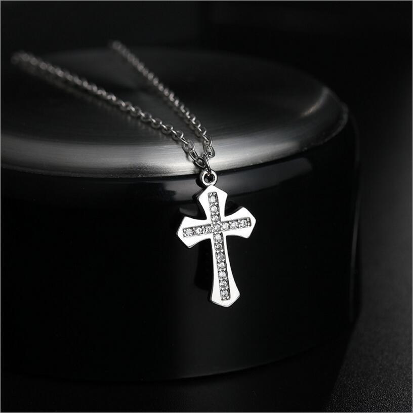 Kuziduocai New ! Fashion Fine Jewelry 925 Silver AAA Zircon 1*1.5cm Bright Cross Necklaces & Pendant For Women Girls Gifts S-N17