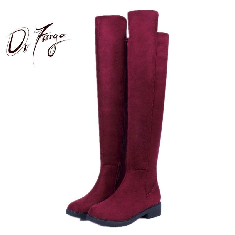 DRFARGO Strech Top Knee High-Heel Overknee Boots Women Long Dress Boots EUR 35-41 Thick Block Med Heel autumn winter boots