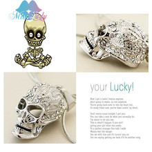 Miss Lady New 2017 Gold color Crystal Skull Skeleton Necklaces & Pendants Wholesales Fashion Jewelry for women men MK131