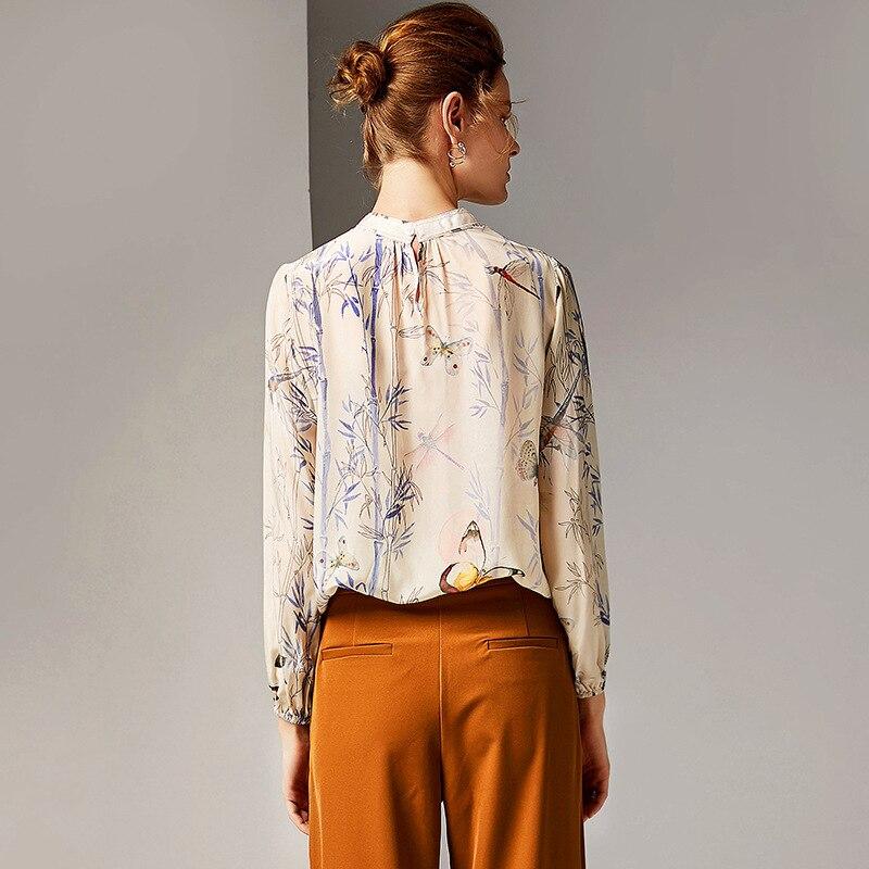100% 실크 블라우스 여성 셔츠 인쇄 탄성 허리 디자인 스탠드 목 긴 소매 우아한 스타일 오피스 탑 새로운 패션 2019-에서블라우스 & 셔츠부터 여성 의류 의  그룹 3