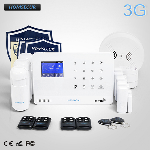 HOMSECUR Wireless LCD 3G/GSM RFID Burglar Intruder Alarm System+Smoke Detector