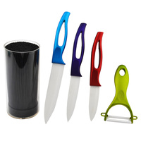 New Arrival 3 5 Inch Pcs Set Ceramic Kitchen Knives Set With Knife Holder Fruit Peeler