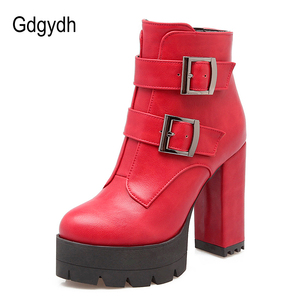 Image 2 - Gdgydh Wholesale Spring Women Boots Platform Rubber Sole Ladies Casual Shoes Plus Size Black High Heels Zipper Red Leather Boots