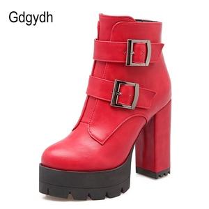 Image 2 - Gdgydh botas con suela de goma para mujer, zapatos informales con plataforma, de talla grande, color negro, rojo, de alta Tacones con cremallera, para primavera