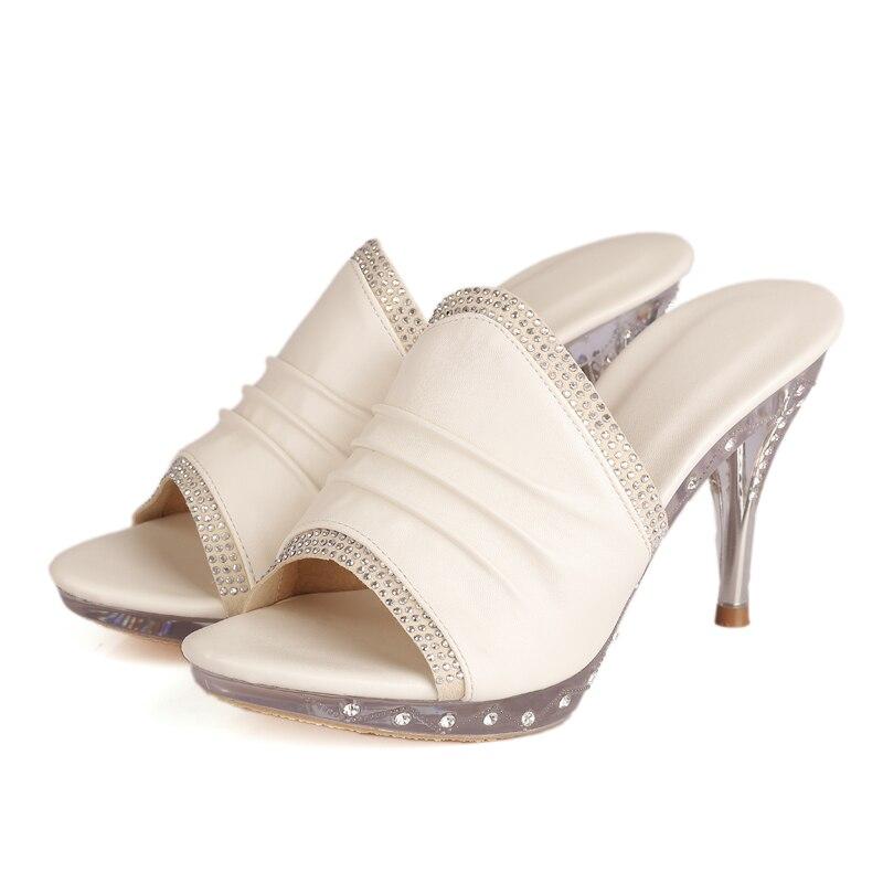 plaid Sexy Beige printing Marque Chaussures Slip Pompes Imprimer Parti Haute En Mince Cuir rose Mules D'été Femme Femmes 2019 Véritable Ribetrini Sur Talons HcRwq6FR