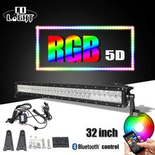 "CO LIGHT 32″ 22"" 5D LED Light Bar RGB Strobe Flash Multicolor Led Warning Light Bluetooth IOS and Android APP Control Wiring"