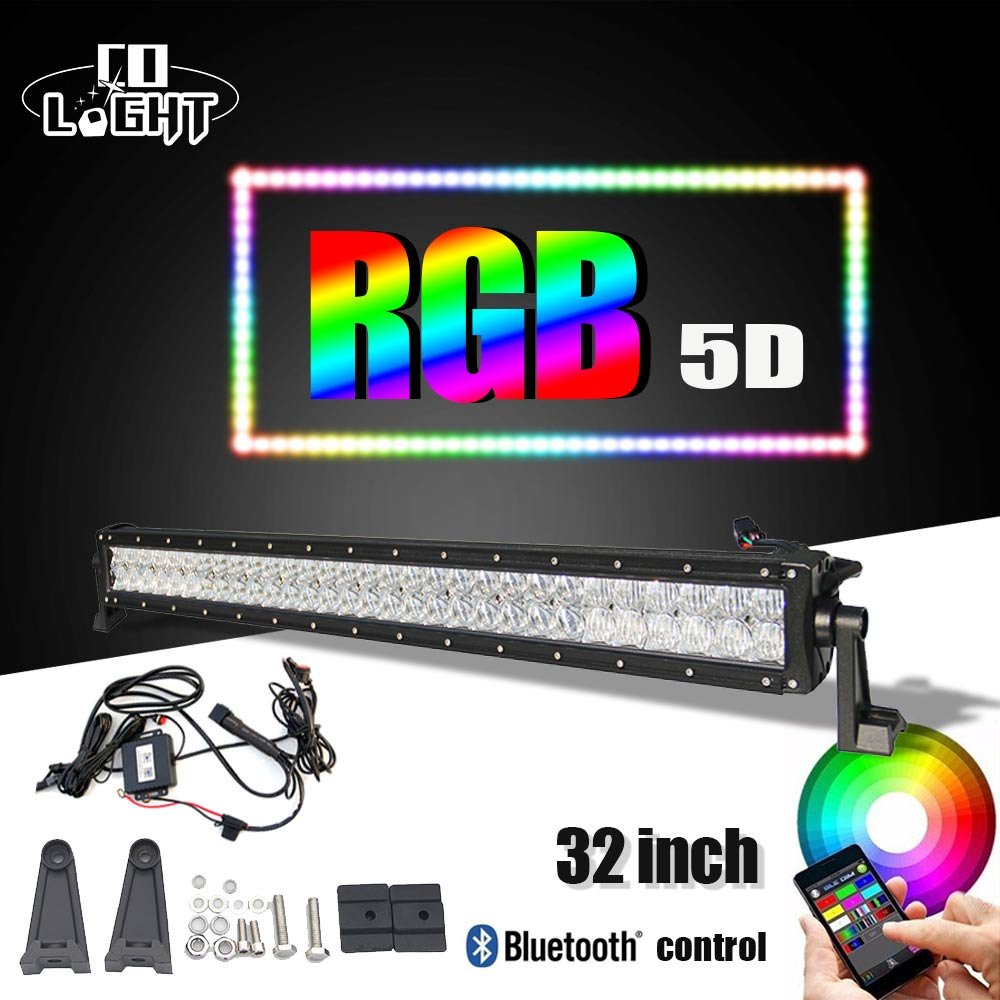 CO LIGHT 32 22'' 5D LED Light Bar RGB Strobe Flash Multicolor Led Warning Light Bluetooth IOS and Android APP Control Wiring