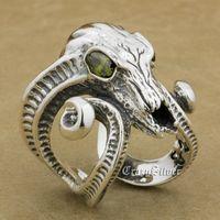 Размер США от 8 до 12, свободный размер, серебро 925 пробы, большой беговой череп с рогами Aries CZ Eyes, мужской Байкер рокер, панк кольцо 8E103