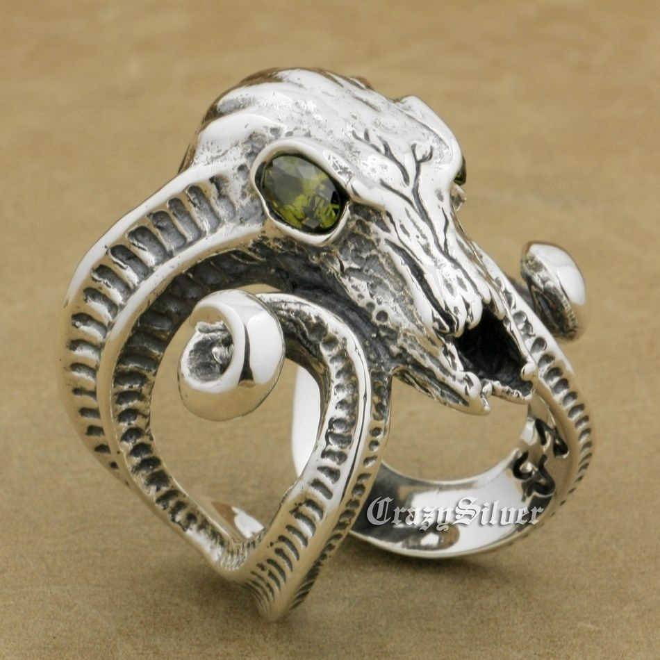 купить US Size 8 to 12 Free Size 925 Sterling Silver Large Ran Skull Horn Aries CZ Eyes Mens Biker Rocker Punk Ring 8E103 онлайн