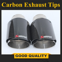 1 Pair Outlet 89MM Stainless car glossy Carbon Fiber Car Exhaust Tip tailpipe car styling exhaust car muffler tip Akrapovic