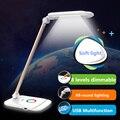 8 уровней сенсорный Затемнения Алюминия СВЕТОДИОДНЫЕ Настольные лампы спальня Красочные night light Яркий Исследование Чтение/Рабочий Стол Лампа USB выход