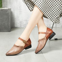 Women Pointed Toe Cow Leather Buckle Strap Camel Pumps Handmade Retro Low Heel Rubber Shallow New Arrival Lady Shoes Woman 2019