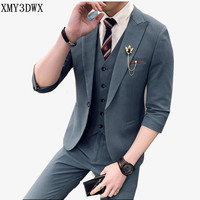 Slim Fit Mens Suits Wedding Groom Plus Size 3XL 2019 summer Groom Wedding business Casual Tuxedo Dress Male Gray 3 Pieces Suit