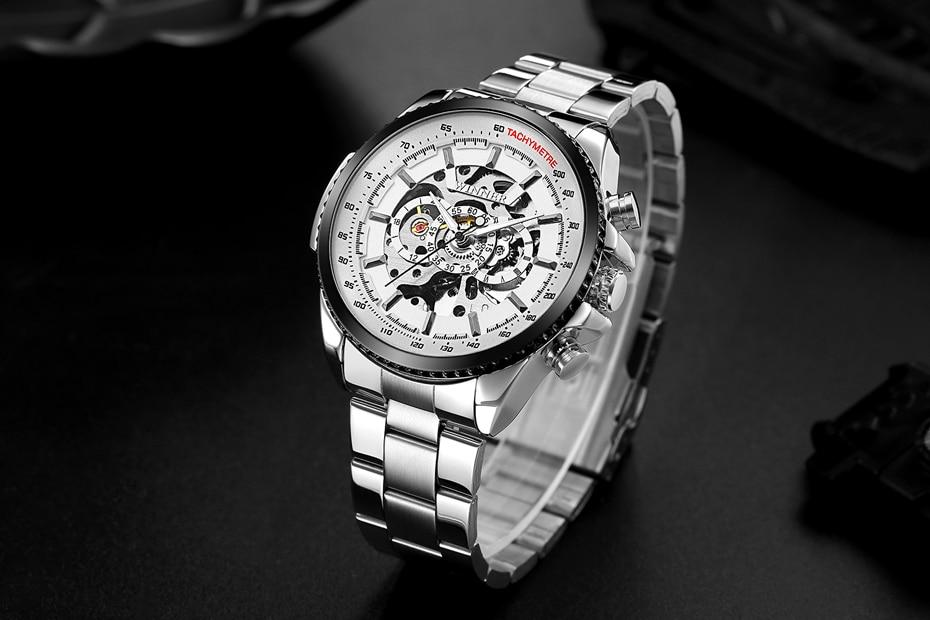 2018 WINNER Fashion Design Black mechanical Watch Steel Automatic watch men black stainless steel band business Relogio Male-428
