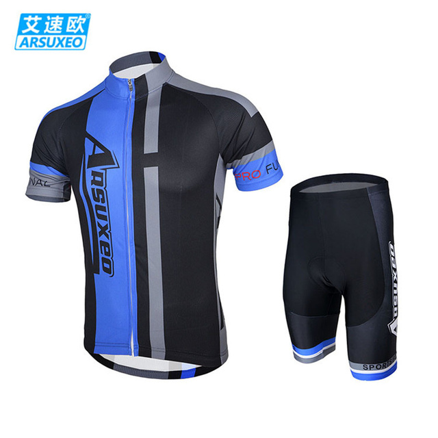 5410ebf12 ARSUXEO Men s Outdoor Bike Bicycle Cycling Cycle Clothing Sportswear Suit  Short Sleeves Jersey + 3D Coolmax Padded Shorts Set