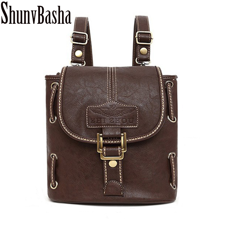 ShunvBasha Simple Style Backpack Women PU leather Shoulder Bag For Teenage Girls Fashion Vintage Rucksack Designer School mochil new printing pu leather backpack women shoulder rucksack university bags for teenage girls designer brand korean femme