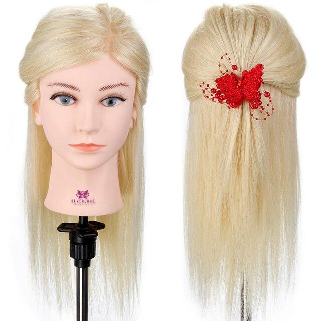 18\'\' Blonde Hair Training Head 100% Real Human Hair Head for ...