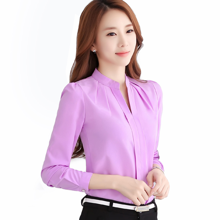 Chiffon blouses 2017 Nieuwe vrouwen shirt Fashion Casual lange mouwen chiffon shirt Elegante Slanke Effen kleur plus size blusas 861B 25