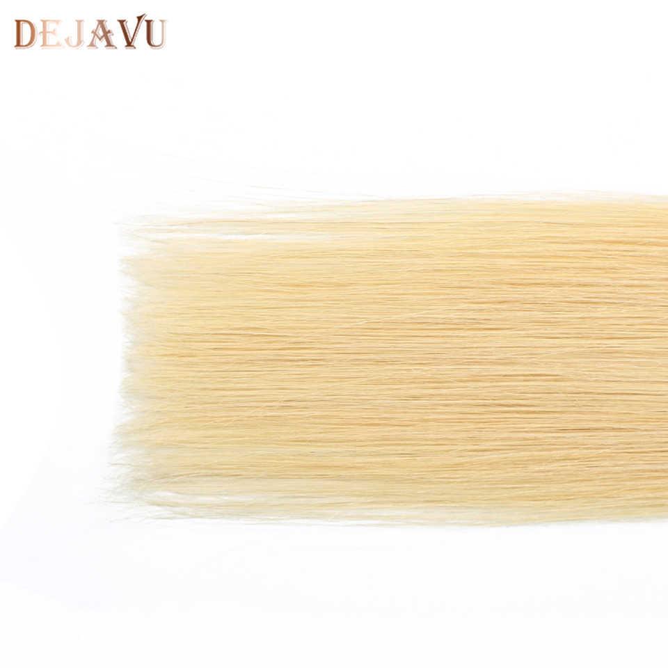 Dejabu 613 recta 4*4 Cierre de encaje Cierre de cabello humano peruano parte media/libre Remy con pelo de bebé extensión 10-30 pulgadas