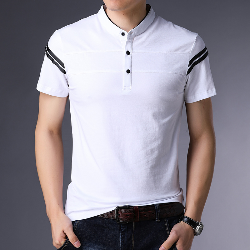 Casual Slim Fit T Shirt for Men Short Sleeve Summer Top Striped Camisetas Hombre 36