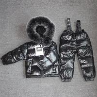 30 Degree Russia Winter Warm Clothes Children Girl Clothing Set Large Raccoon Fur Hoodie Kid Windproof&waterproof Down Snowsuit