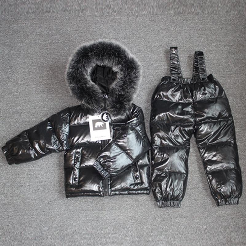 -30 degrés russie hiver chaud vêtements enfants fille vêtements ensemble grand raton laveur blouson à capuche en fourrure enfant coupe-vent et imperméable en duvet Snowsuit