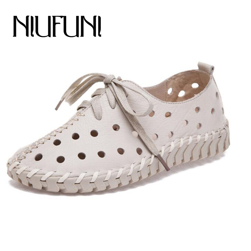 Summer Spring Hollow Genuine Leather Shoes Women New Fashion Lace Up Women Flats Shoes Comfortable Handmade