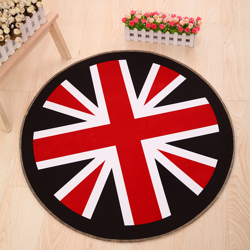 British Flag Cute Cartoon Round Carpet Non Slip Living Room Kids Room Rug Captain America Mat for Bedroom in Mat from Home Garden