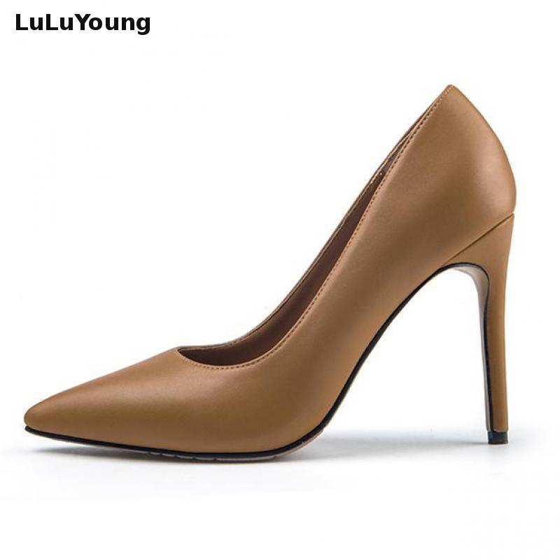 Stiletto Pumps Wedding-Shoes Pointed-Toe High-Heels Sexy Genuine-Leather Slip-On
