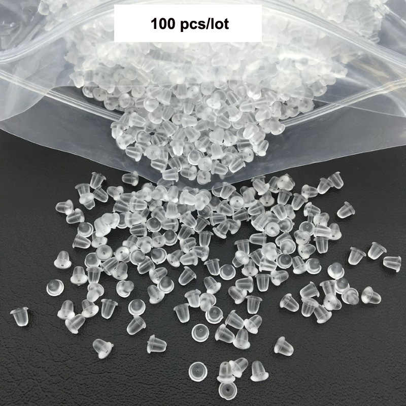 100Pcs Clear Rubber Silicone Plastic Earring Backs Stopper Post Nut Findings