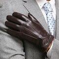 Высокое Качество Натуральной Кожи Перчатки Для Мужчин Тепловой Зима Сенсорный Экран Перчатки Овчины Моды Тонкий Наручные Вождения EM011