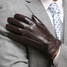 touchscreen leather gloves men warmth winter sheepskin fashion slim wrist man Genuine